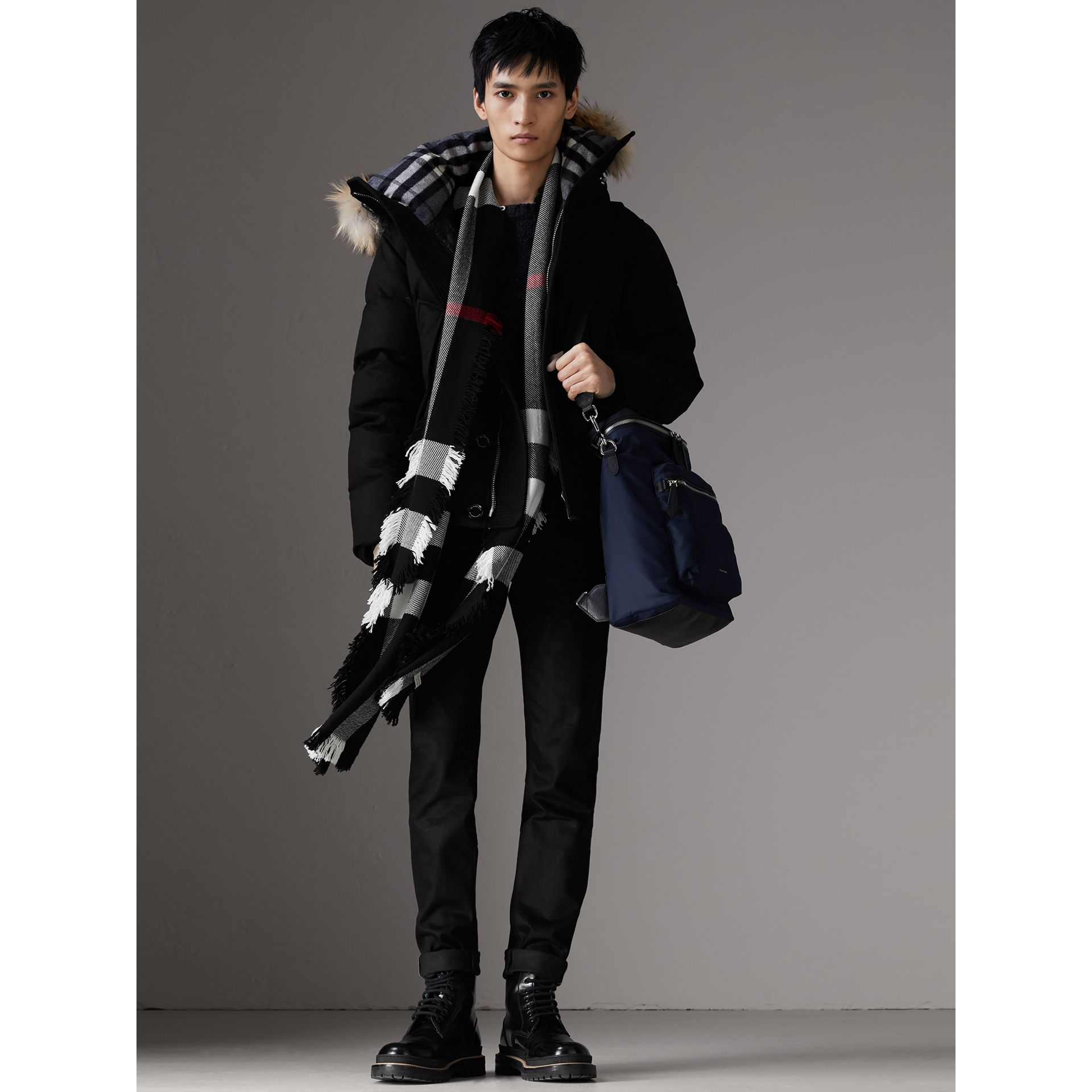 Zip-top Leather Trim Showerproof Backpack in Dark Navy - Men | Burberry - gallery image 2