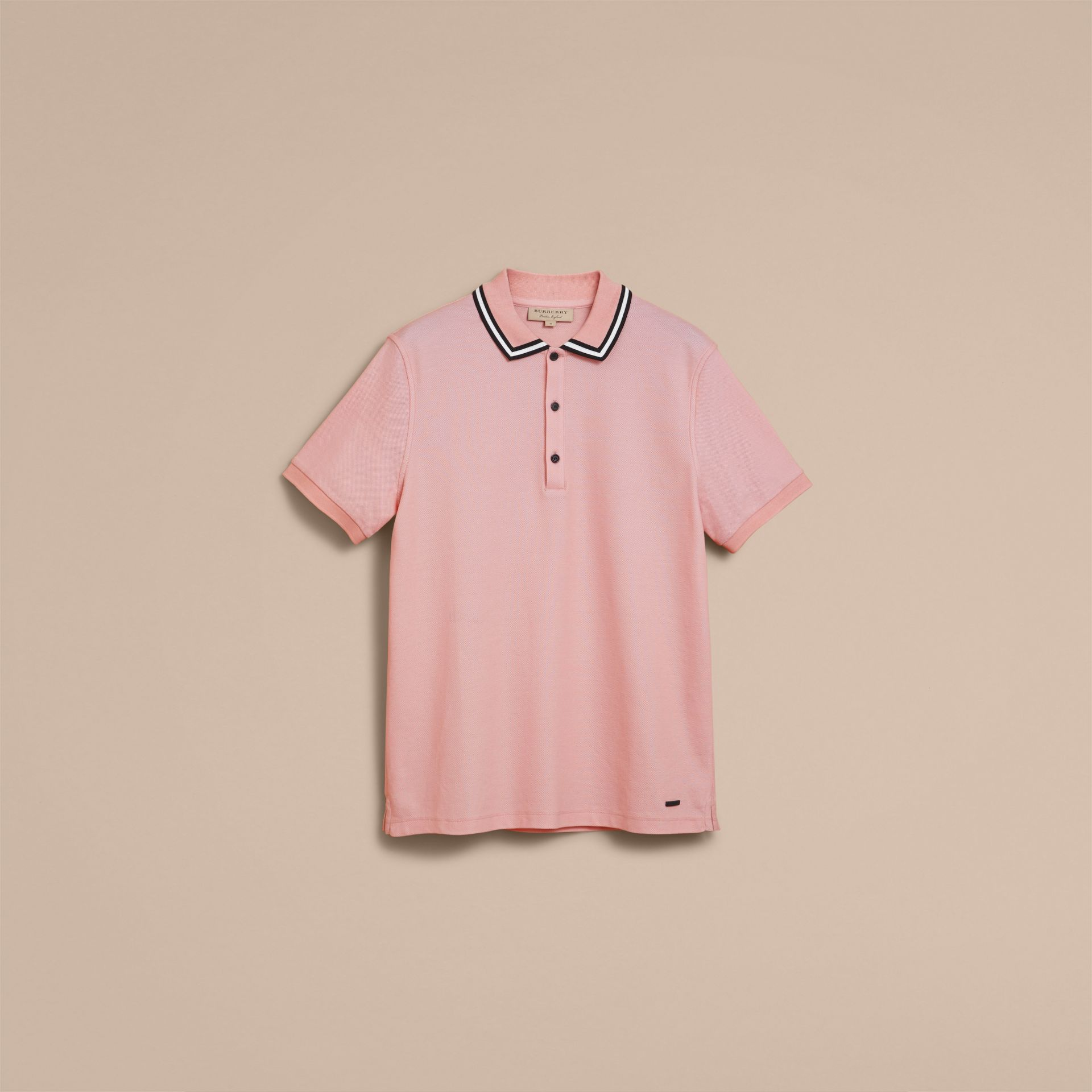 Striped Collar Cotton Piqué Polo Shirt in Chalk Pink - Men | Burberry - gallery image 4