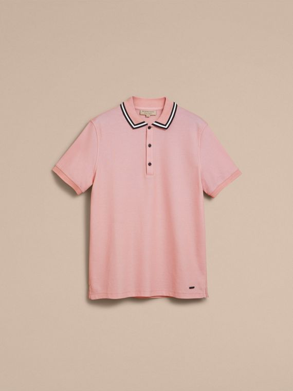 Striped Collar Cotton Piqué Polo Shirt in Chalk Pink - Men | Burberry - cell image 3