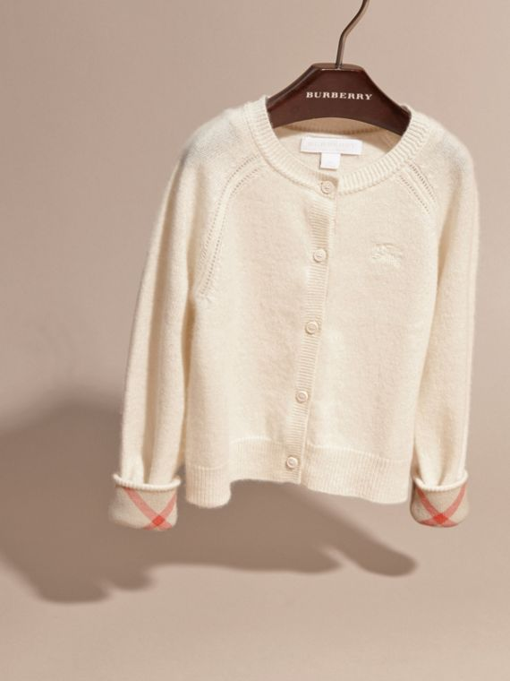 Check Cuff Cashmere Cardigan in Natural White - Girl | Burberry - cell image 2