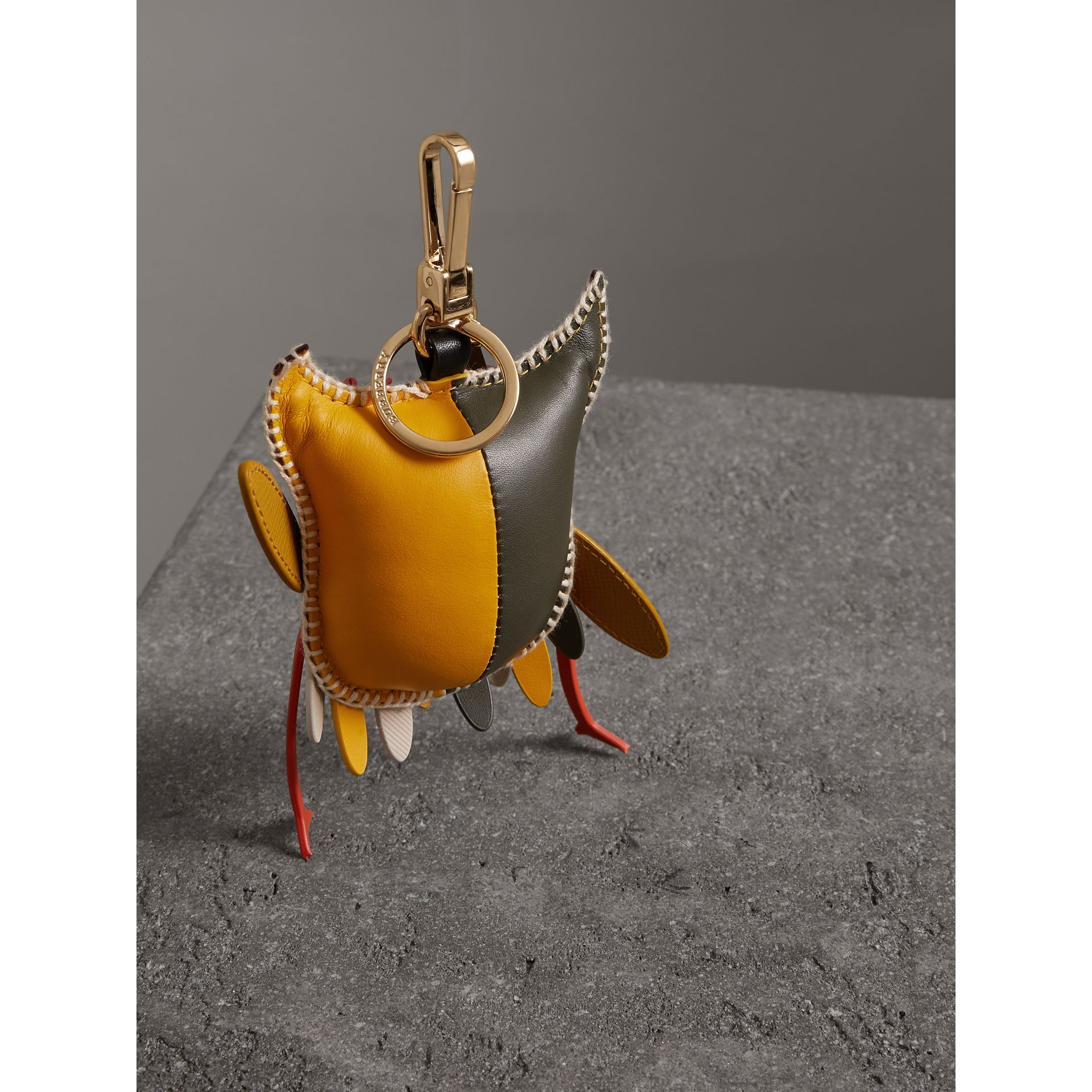 Mavis The Owl Leather Charm in Deep Claret - Women | Burberry United Kingdom - gallery image 3