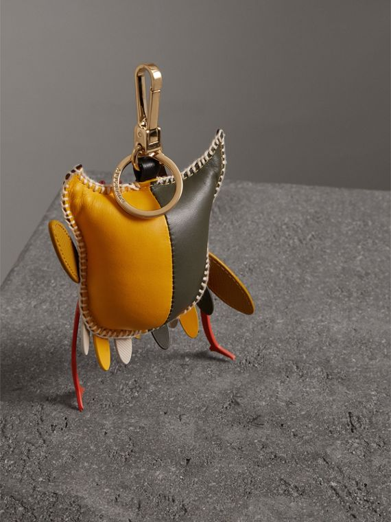 Mavis The Owl Leather Charm in Deep Claret - Women | Burberry - cell image 3
