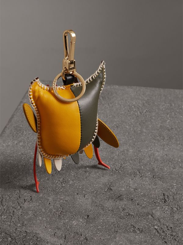 Mavis The Owl Leather Charm in Deep Claret - Women | Burberry Australia - cell image 3