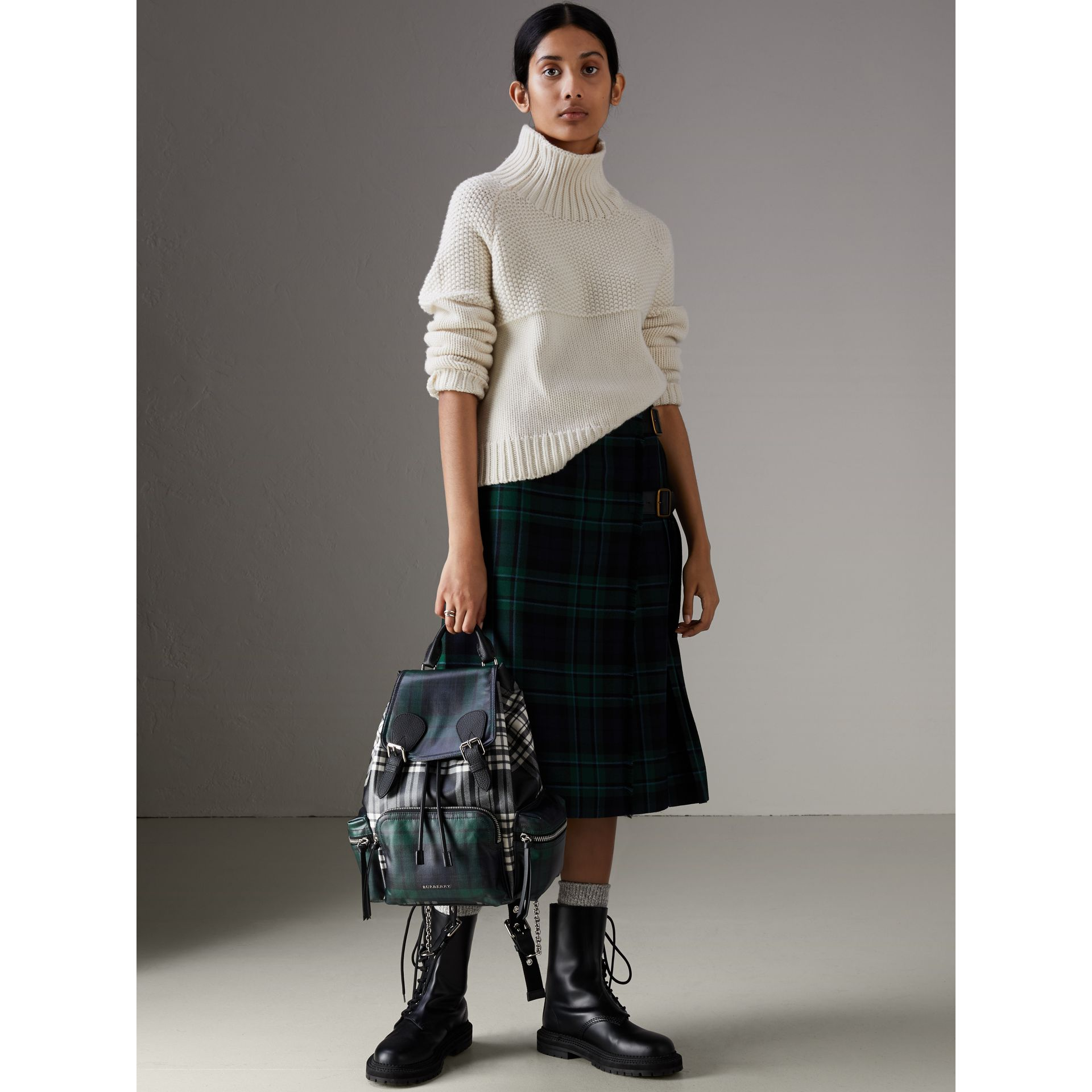 The Medium Rucksack in Laminated Tartan in Black/white - Women | Burberry United Kingdom - gallery image 3