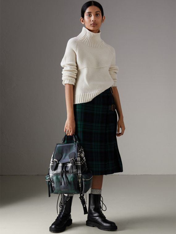 The Medium Rucksack in Laminated Tartan in Black/white - Women | Burberry Australia - cell image 3