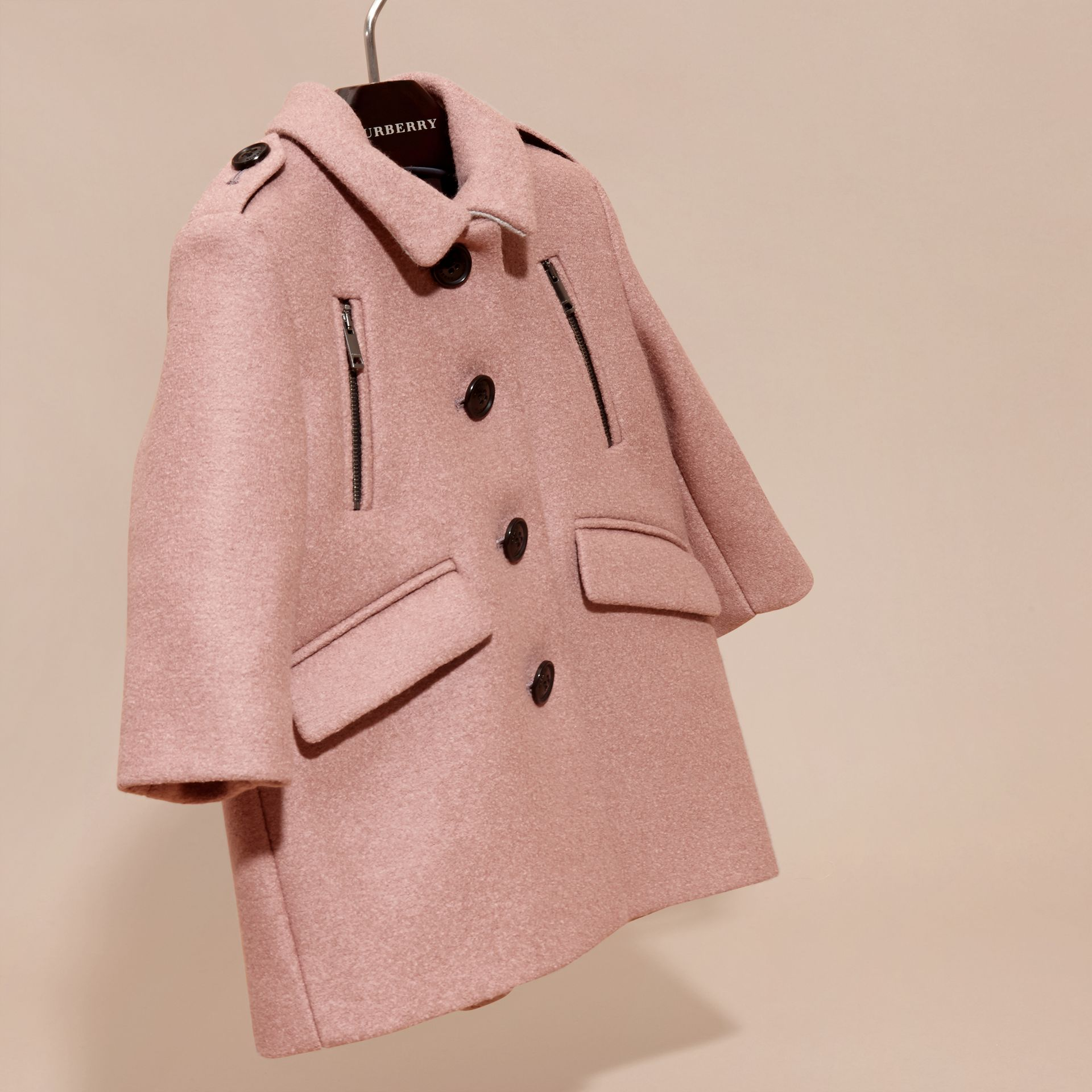 Pale ash rose Tailored Wool Coat - gallery image 3