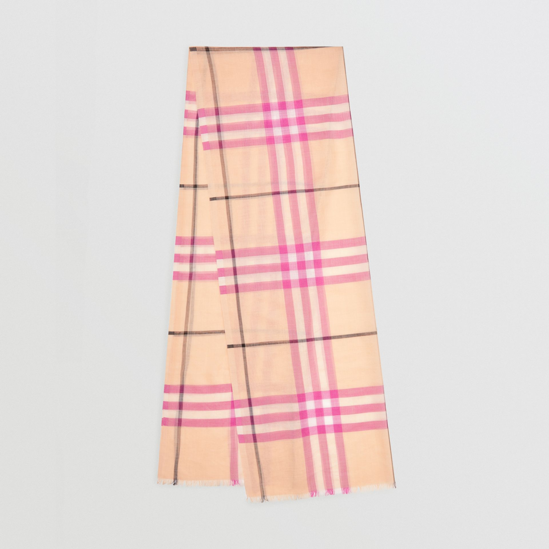 Lightweight Check Wool and Silk Scarf in Pale Apricot | Burberry - gallery image 0