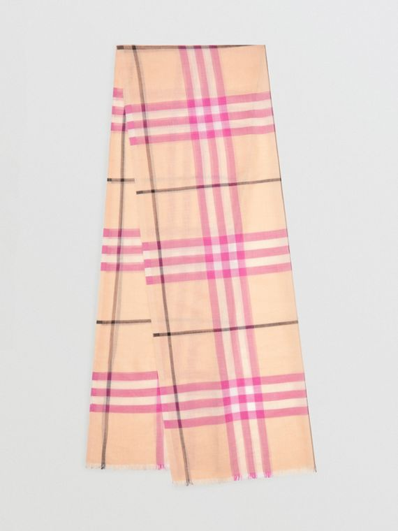 Lightweight Check Wool and Silk Scarf in Pale Apricot