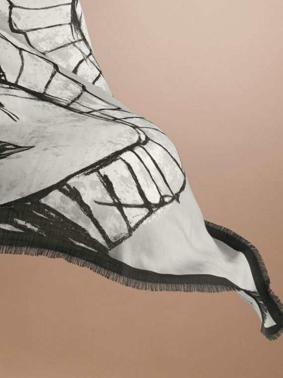 Pallas Helmet Motif Cashmere Scarf in Grey - Men | Burberry Singapore - cell image 3
