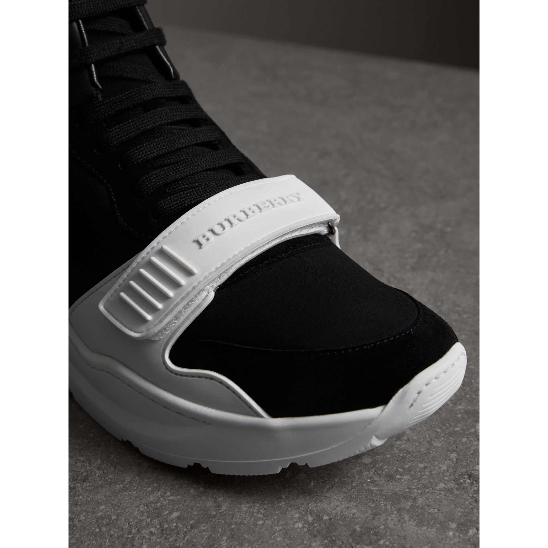 Suede Trim Neoprene High-top Sneakers in Black/optic White | Burberry Canada - gallery image 1