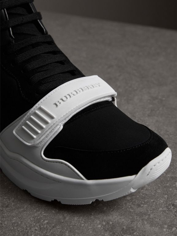 Suede and Neoprene High-top Sneakers in Black/optic White | Burberry United States - cell image 1