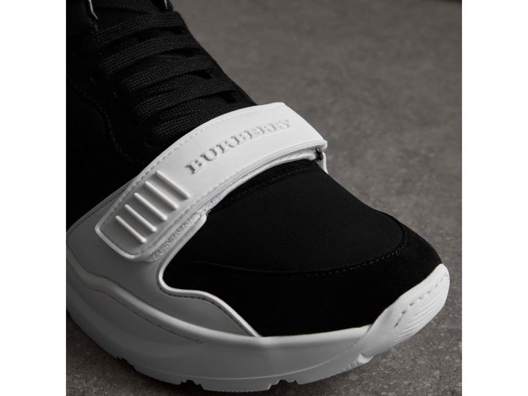 Suede Trim Neoprene High-top Sneakers in Black/optic White | Burberry - cell image 1