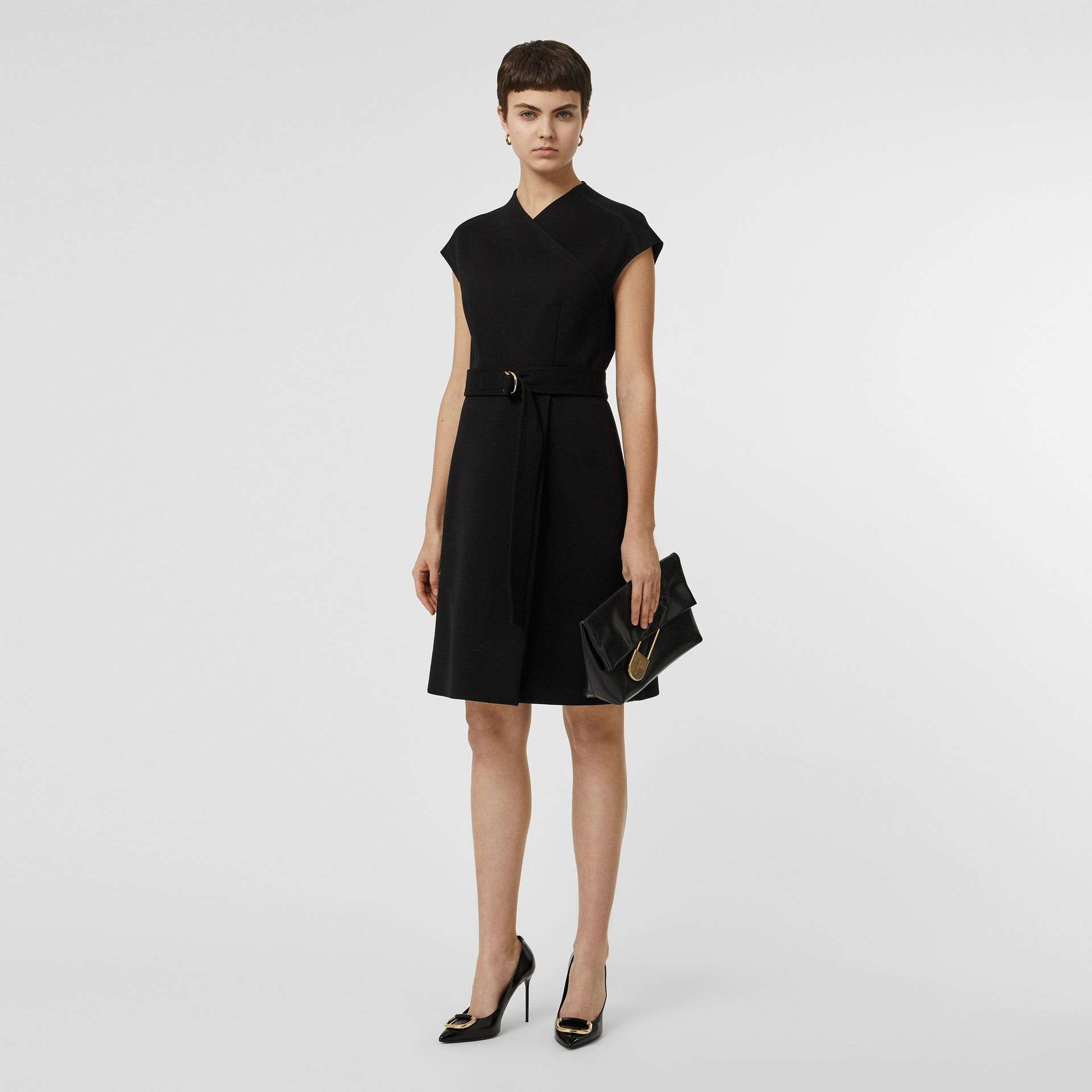 D-ring Detail Bonded Jersey Dress in Black - Women | Burberry - gallery image 0