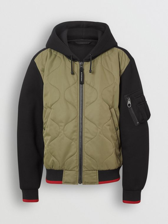 Quilted Panel Neoprene Hooded Top in Black