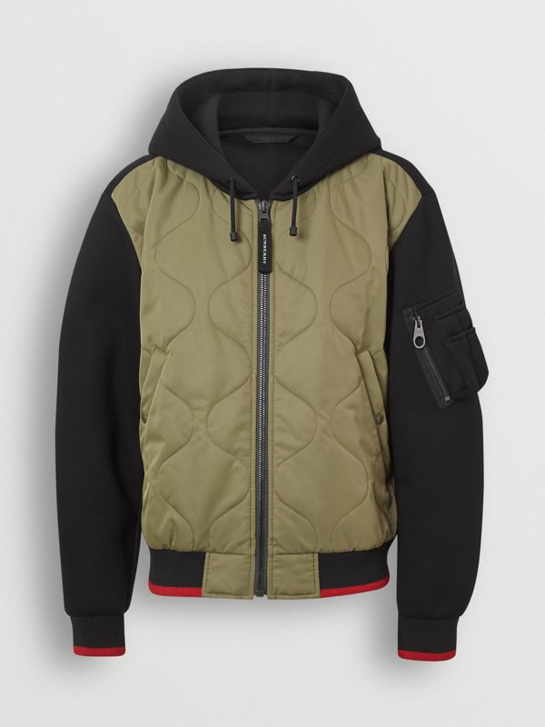 Quilted Panel Neoprene Hooded Top in Black - Men | Burberry - cell image 3