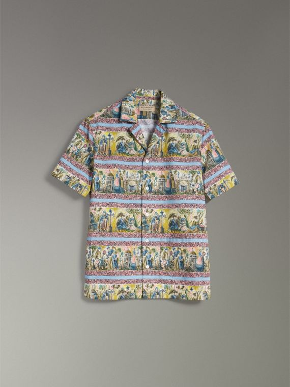Short-sleeve Figurative Print Shirt in Turquoise Green - Men | Burberry - cell image 3