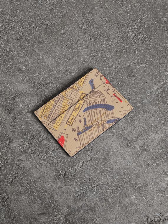 London Icons Print Leather Card Case in Multicolour