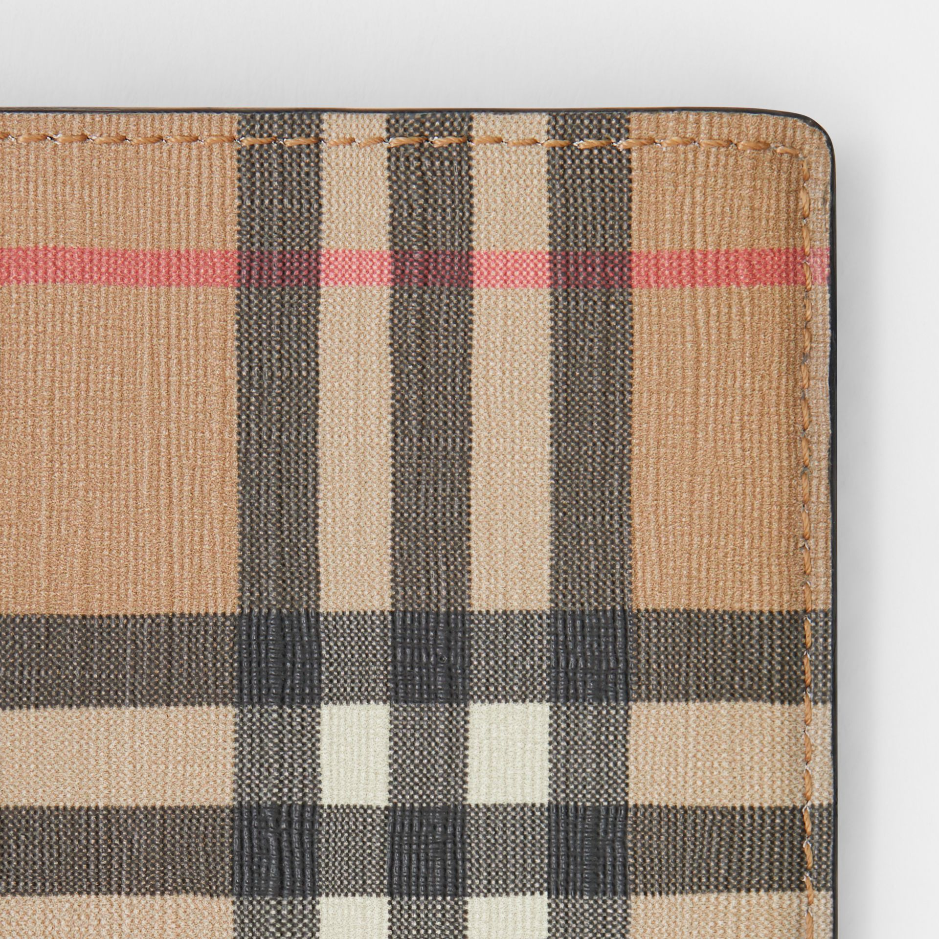 Vintage Check E-canvas International Bifold Wallet in Archive Beige - Men | Burberry United Kingdom - gallery image 1