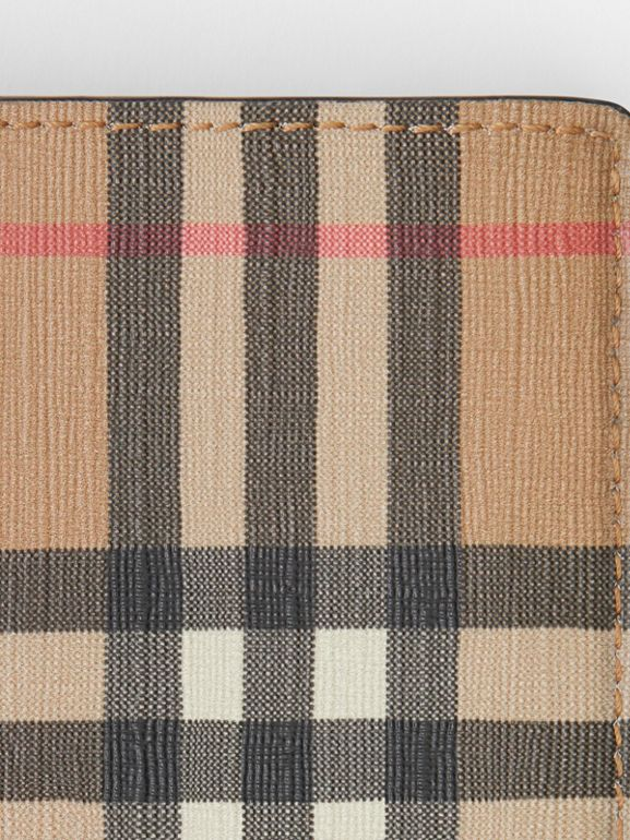 Vintage Check E-canvas International Bifold Wallet in Archive Beige - Men | Burberry United Kingdom - cell image 1