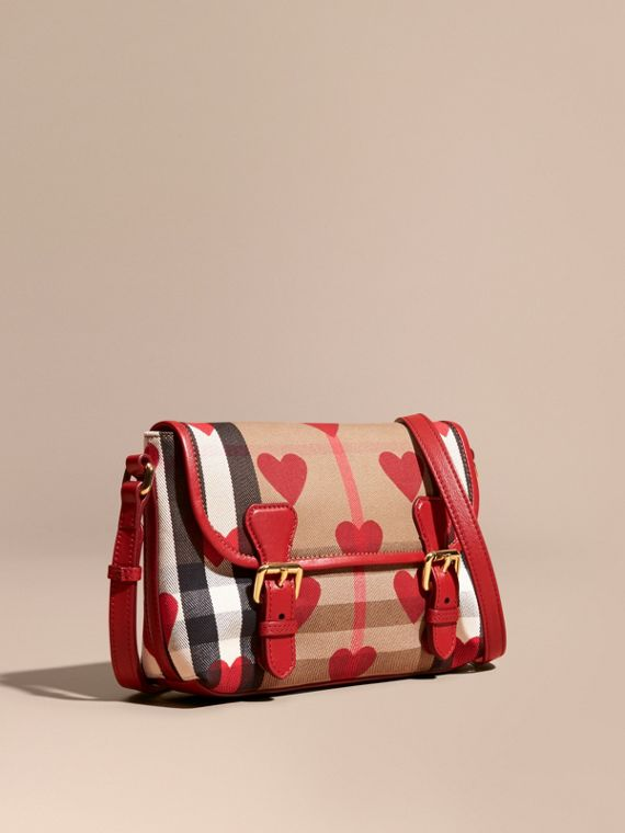 Bolso Satchel de checks House y motivo de corazones