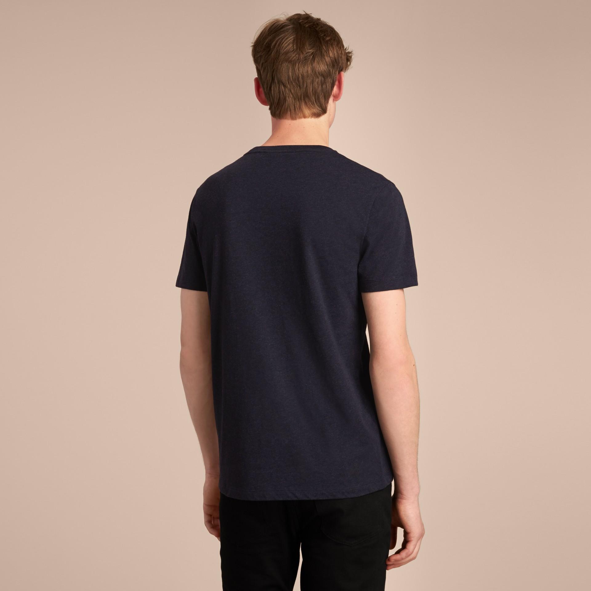 Devoré Cotton Jersey T-shirt in Navy Melange - gallery image 3