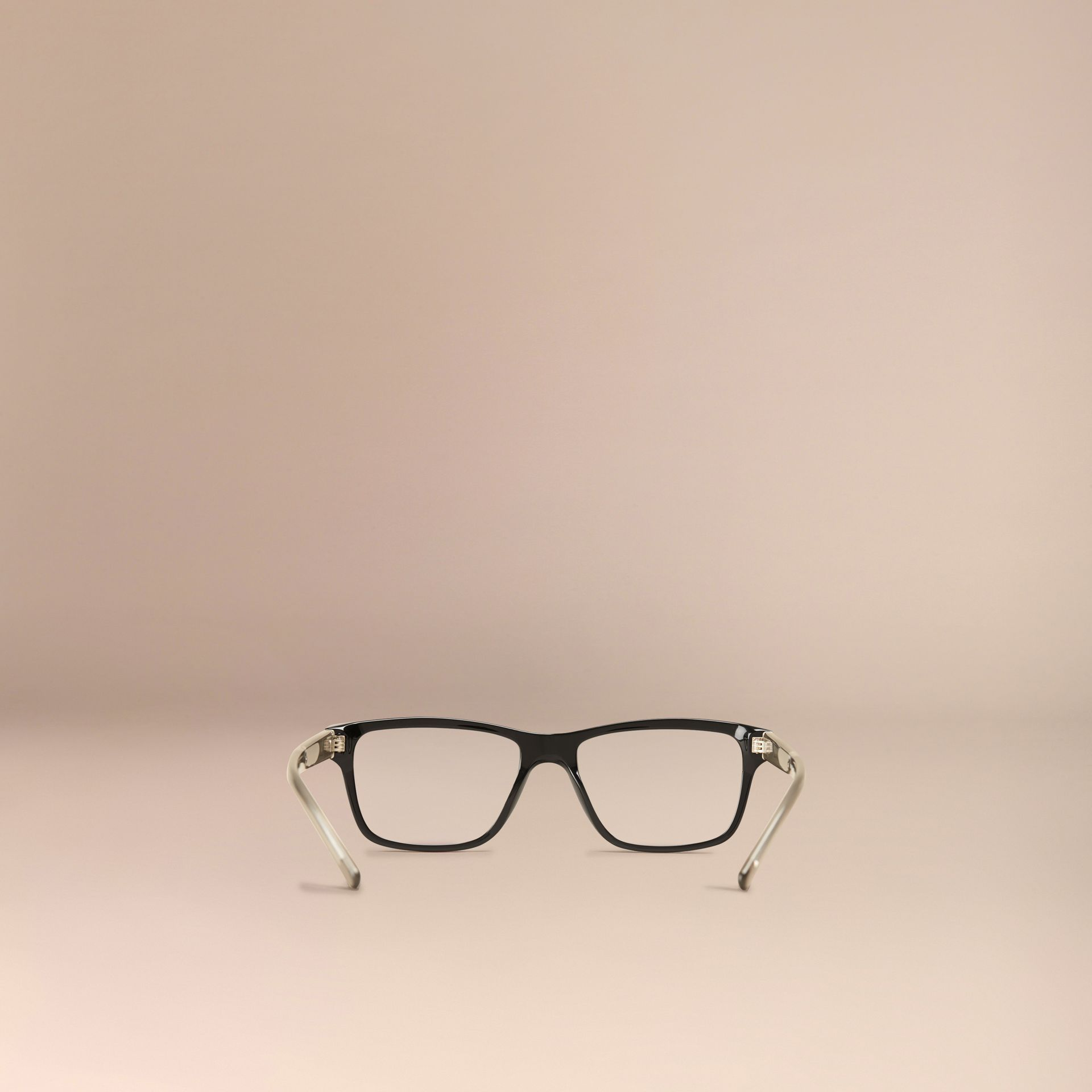 Black Check Detail Rectangular Optical Frames Black - gallery image 3