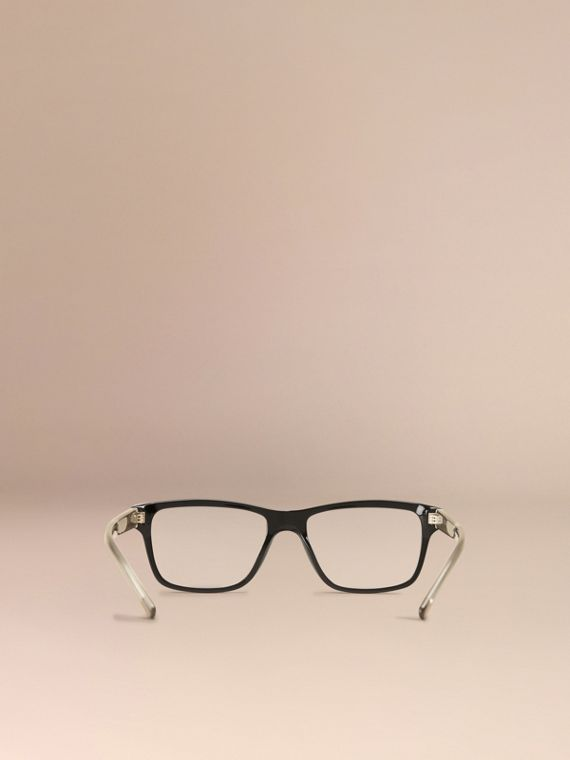 Black Check Detail Rectangular Optical Frames Black - cell image 2