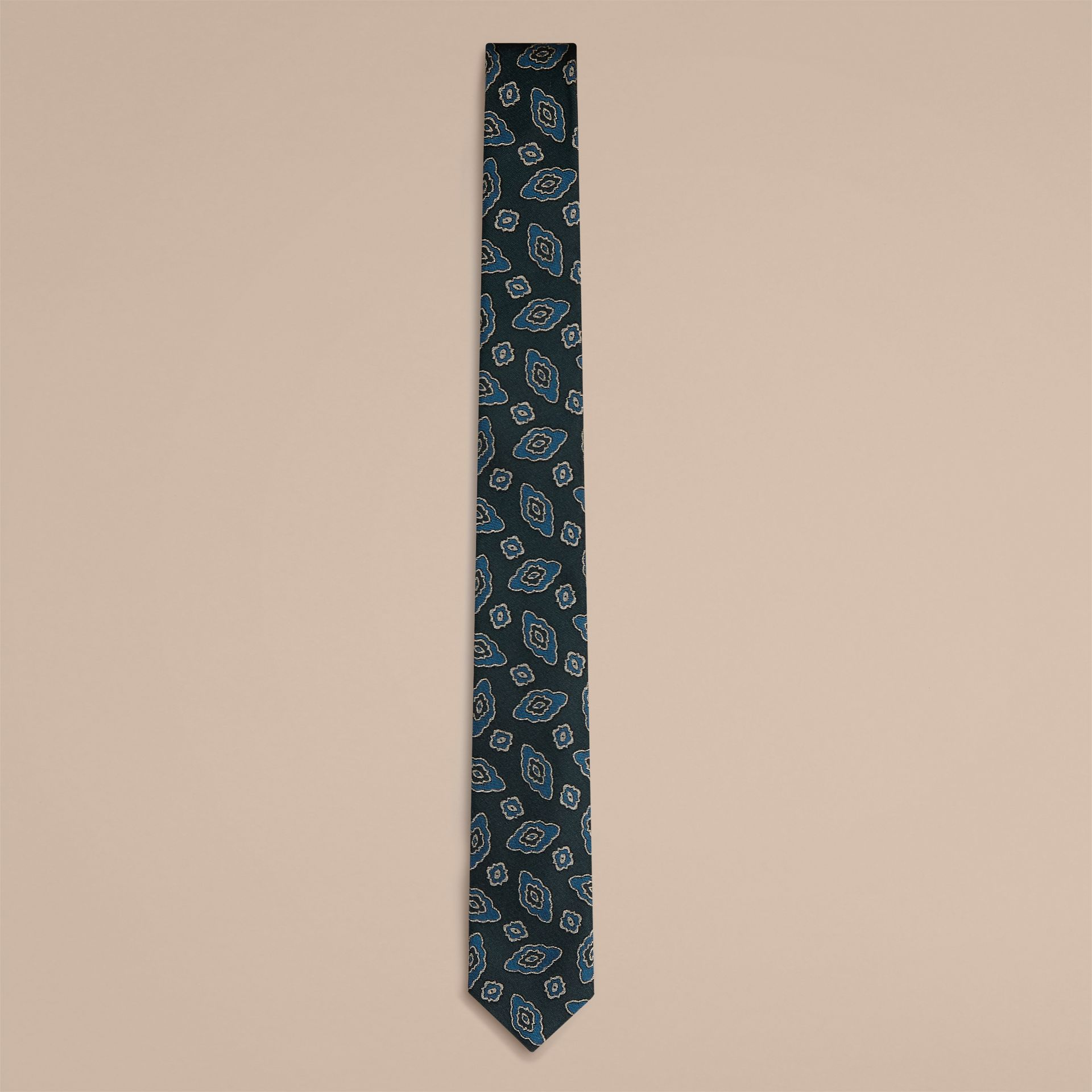Steel blue Slim Cut Abstract Floral Jacquard Silk Tie - gallery image 2