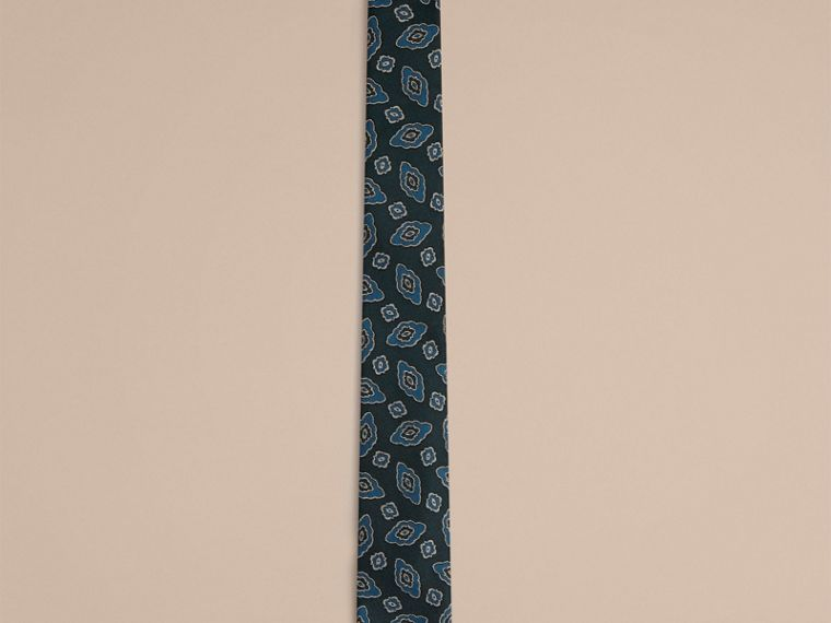 Steel blue Slim Cut Abstract Floral Jacquard Silk Tie - cell image 1