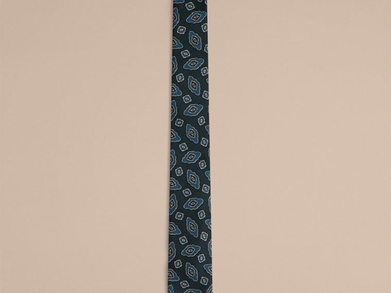 Стальной синий Узкий галстук с абстрактным цветочным узором - cell image 1