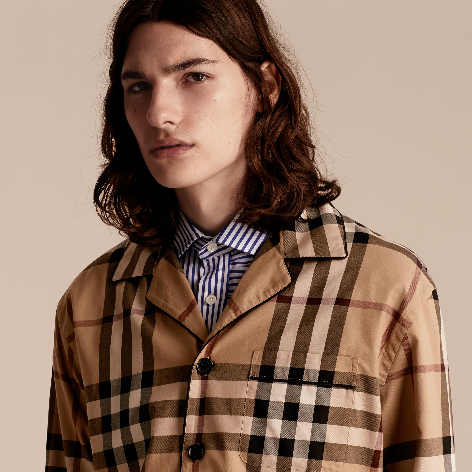 Camel Check Cotton Pyjama-style Shirt Camel - gallery image 6