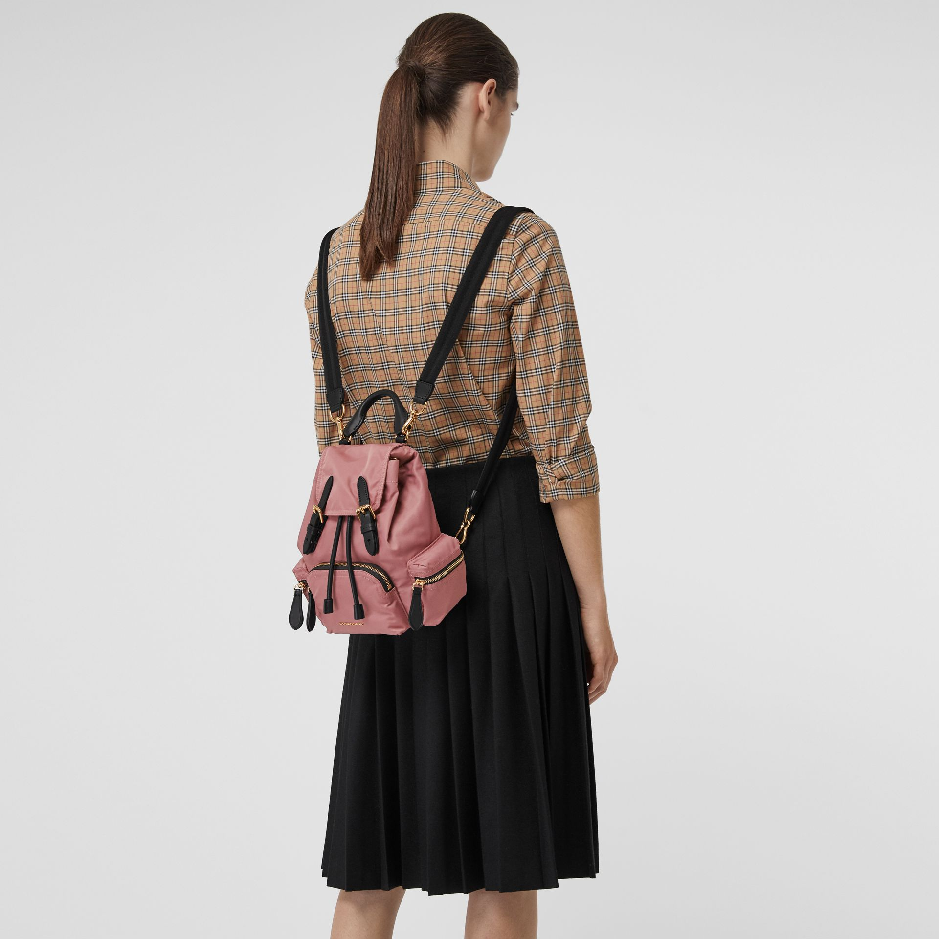 The Small Crossbody Rucksack in Nylon in Mauve Pink - Women | Burberry - gallery image 3