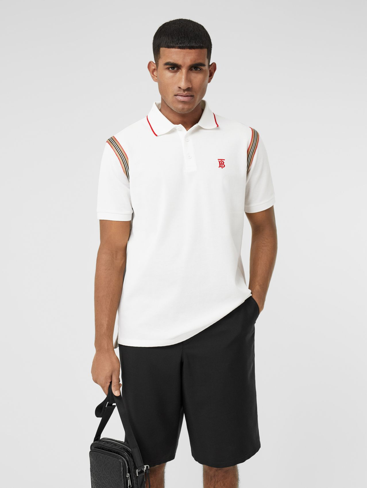 Icon Stripe Trim Monogram Motif Cotton Polo Shirt (White)
