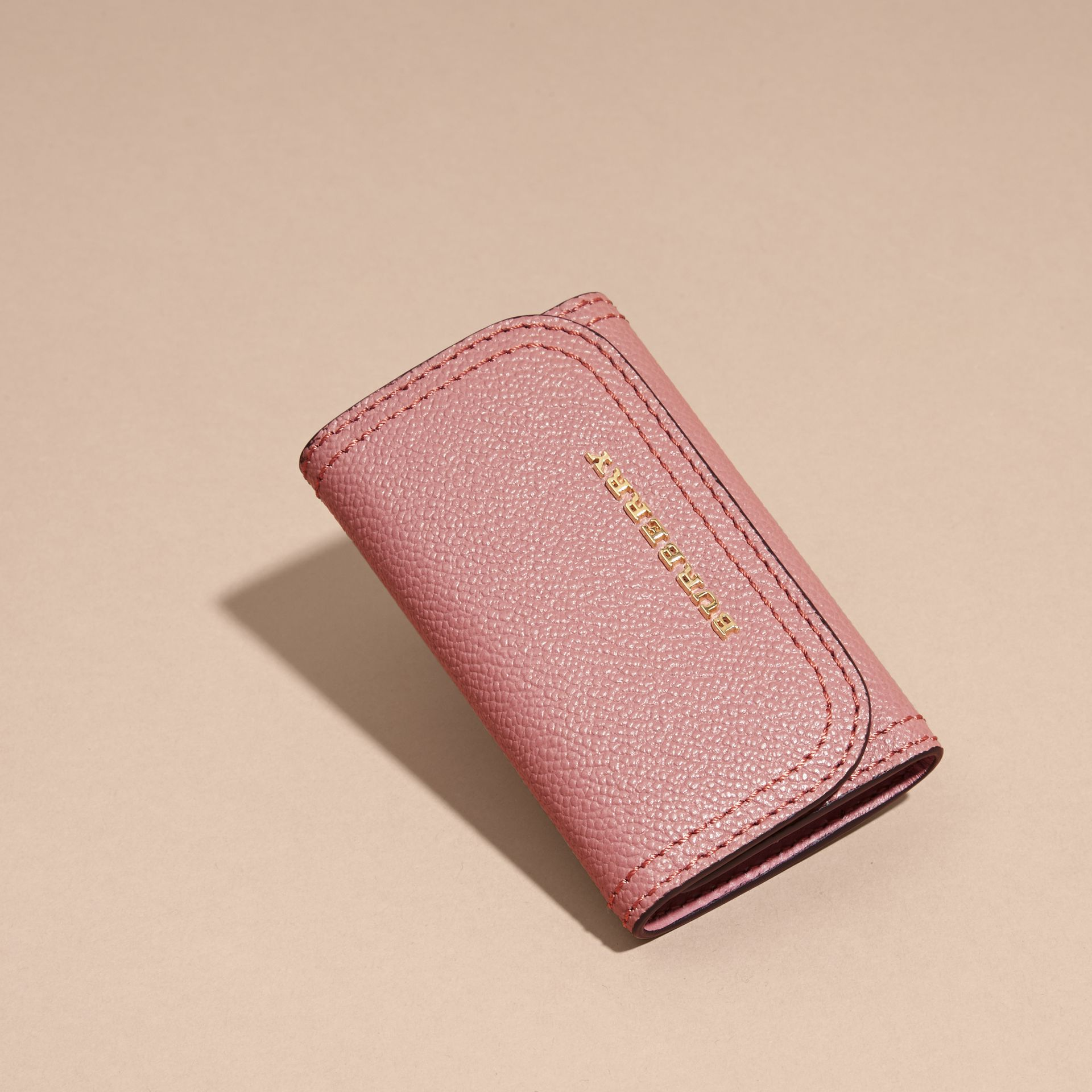 Grainy Leather Key Holder in Dusty Pink - Women | Burberry United States - gallery image 2