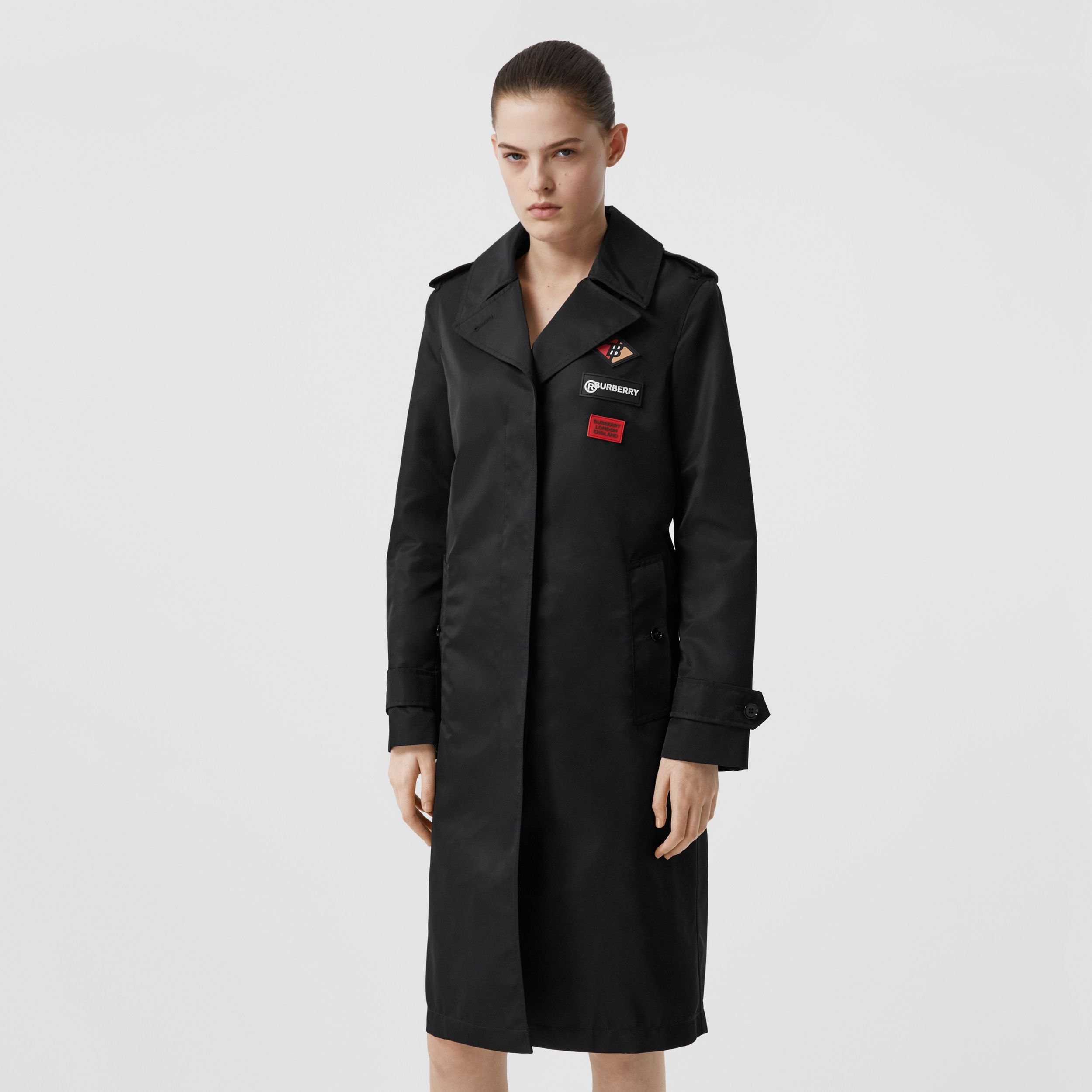 Logo Graphic Nylon Car Coat in Black - Women | Burberry - 1