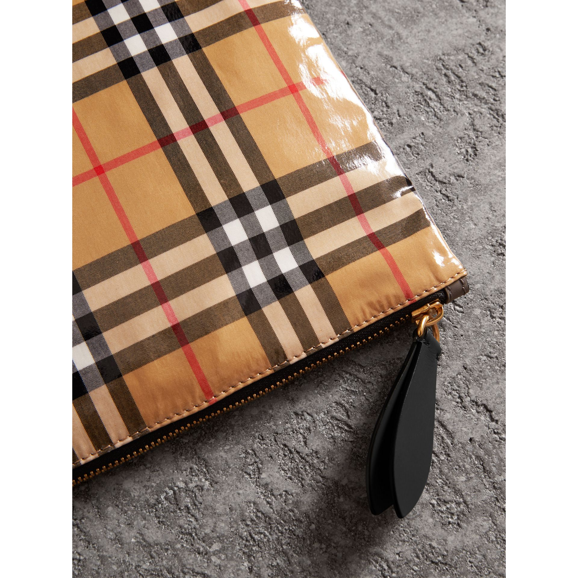 Large Coated Vintage Check Pouch in Black | Burberry Canada - gallery image 1