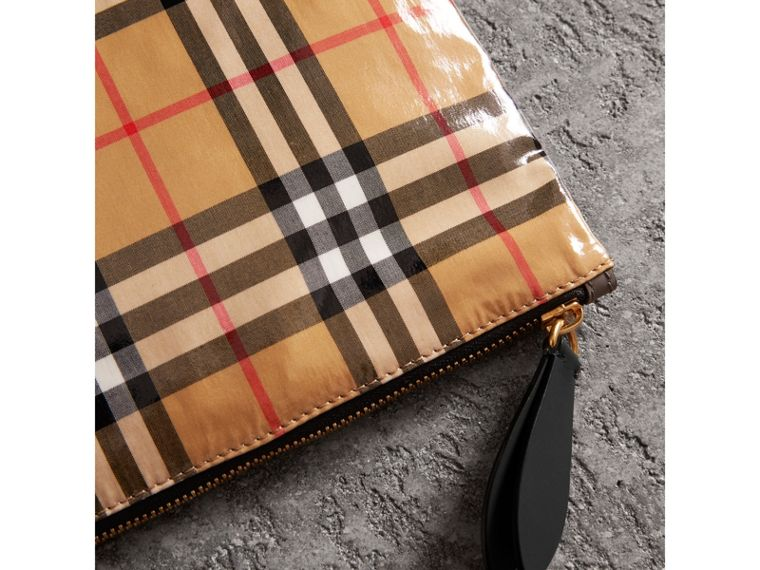 Large Coated Vintage Check Pouch in Black | Burberry - cell image 1
