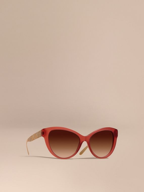 3D Check Cat-eye Sunglasses Red