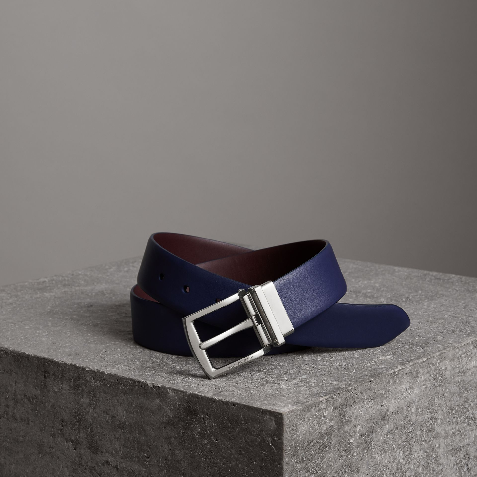 Reversible Leather Belt in Canvas Blue - Men | Burberry - gallery image 0