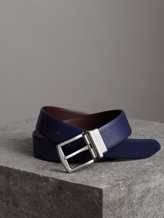 Reversible Leather Belt in Canvas Blue