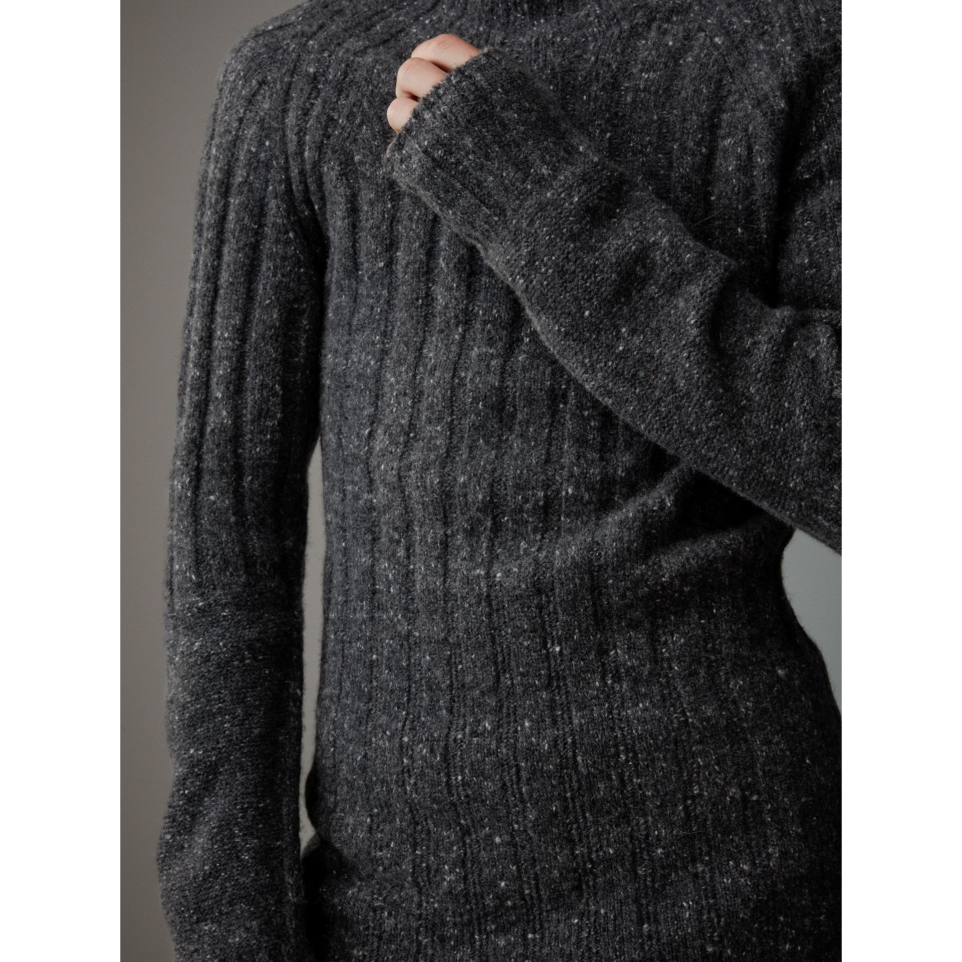 Rib Knit Wool Cashmere Turtleneck Sweater in Charcoal - Men | Burberry United Kingdom - gallery image 1