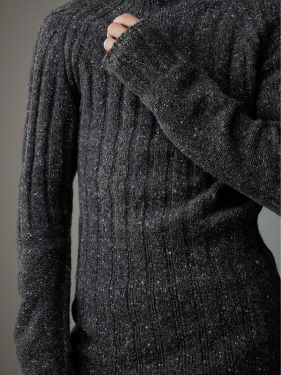 Rib Knit Wool Cashmere Turtleneck Sweater in Charcoal - Men | Burberry United Kingdom - cell image 1
