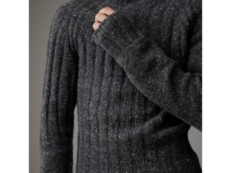 Rib Knit Wool Cashmere Turtleneck Sweater in Charcoal - Men | Burberry United States - cell image 1