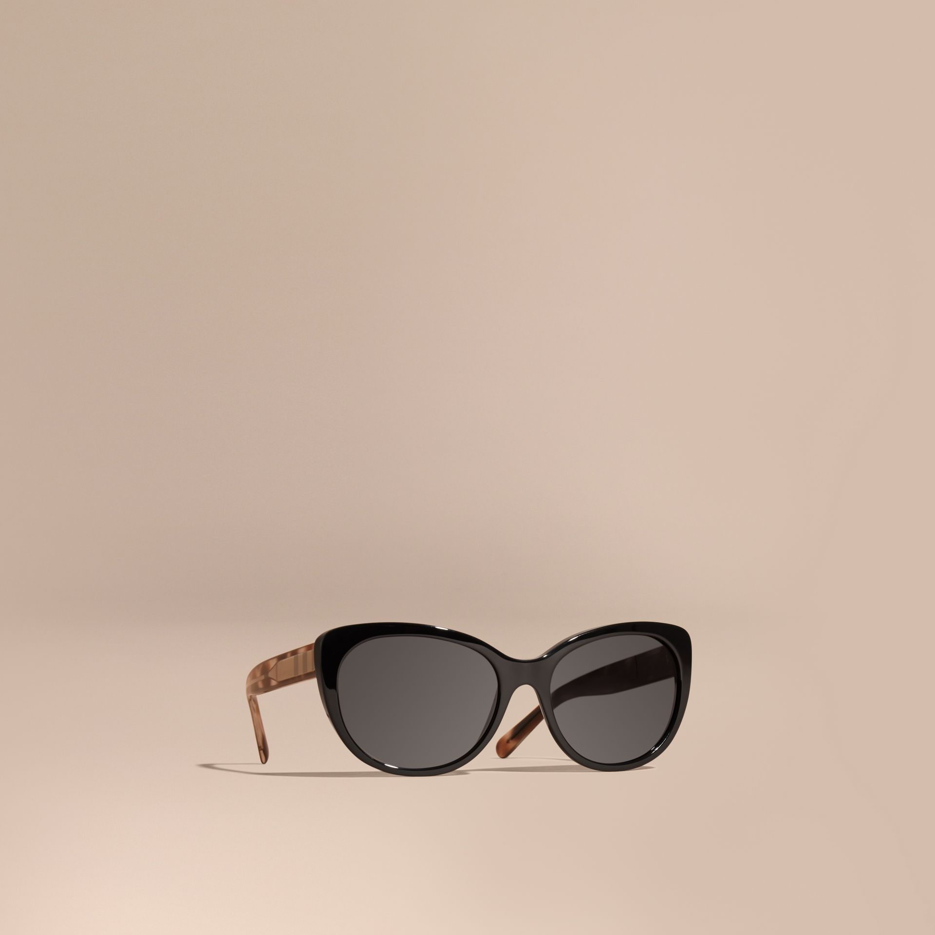 Black Check Detail Cat-eye Polarised Sunglasses - gallery image 1