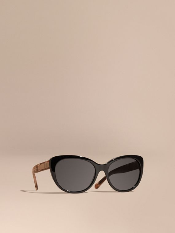 Check Detail Cat-eye Polarised Sunglasses
