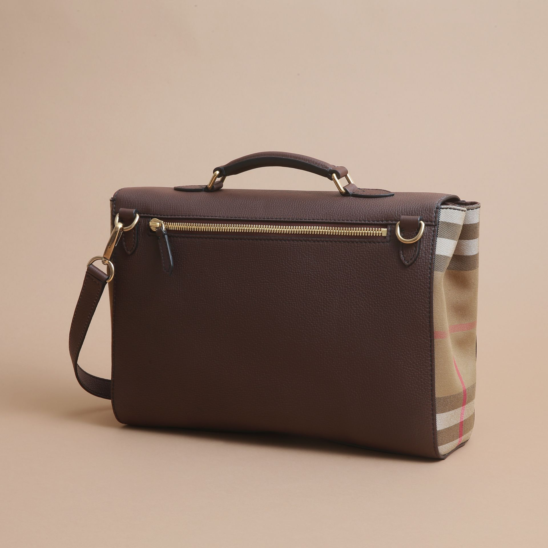 Leather and House Check Satchel in Oak Brown - Men | Burberry - gallery image 5