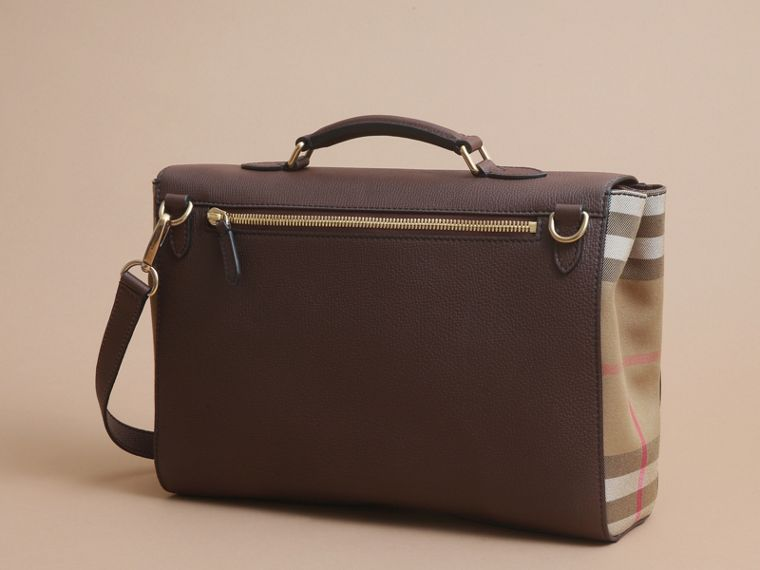 Leather and House Check Satchel in Oak Brown - Men | Burberry - cell image 4