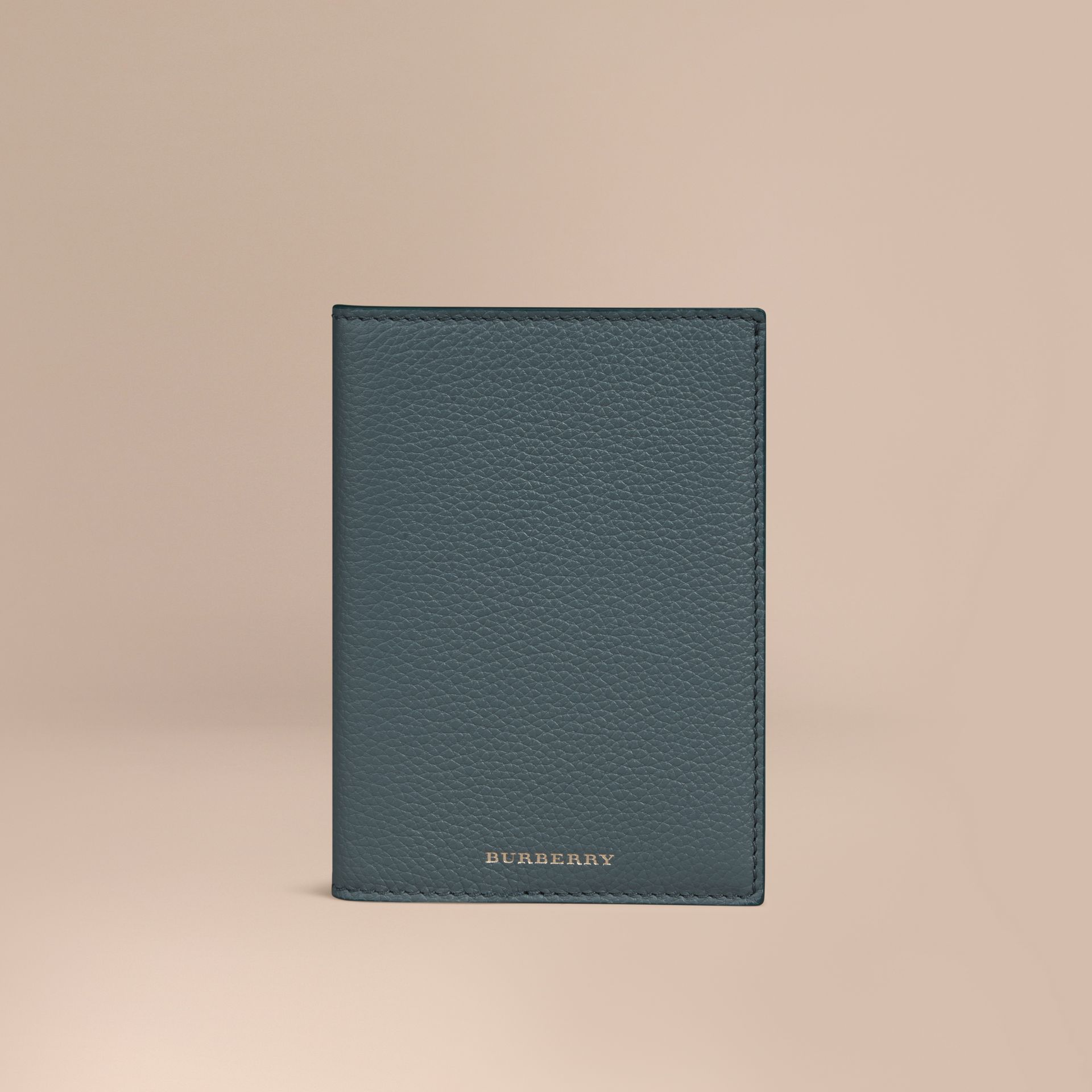 Grainy Leather Passport Cover in Dusty Teal | Burberry - gallery image 1