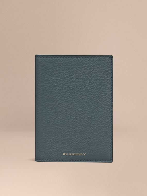Grainy Leather Passport Cover in Dusty Teal