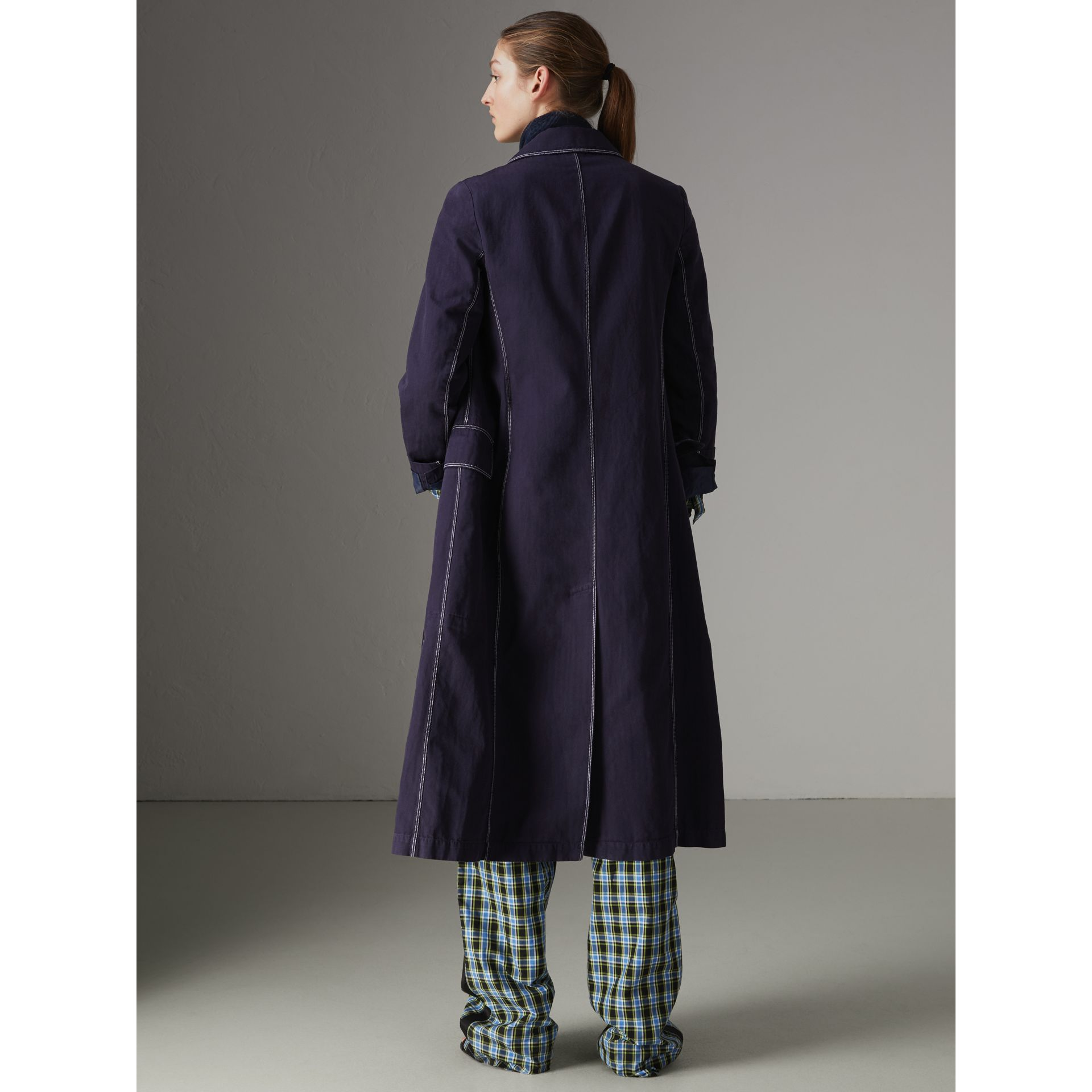 Topstitched Cotton Linen Double-breasted Coat in Deep Indigo - Women | Burberry - gallery image 2